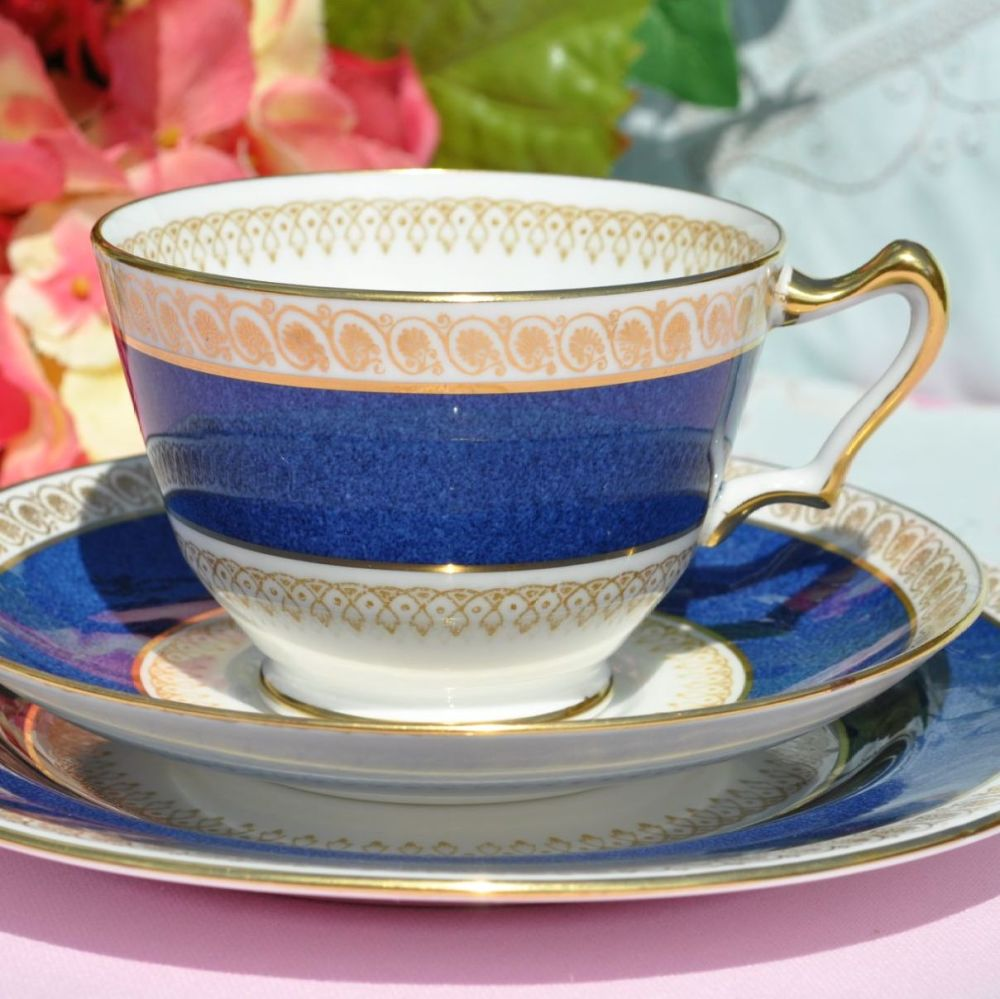 Crown Staffordshire Metalised Powder Blue and Gold Teacup Trio
