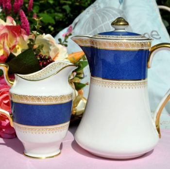 Crown Staffordshire Blue and Gold Hot Water Jug and Creamer c.1930s
