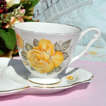 Queen Anne Yellow Rose Pattern Tennis Set - One Handed Teacup Trio c.1960s