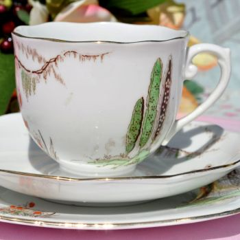 Roslyn China Cypress Tree Art Deco Hand Painted Teacup Trio c.1924+