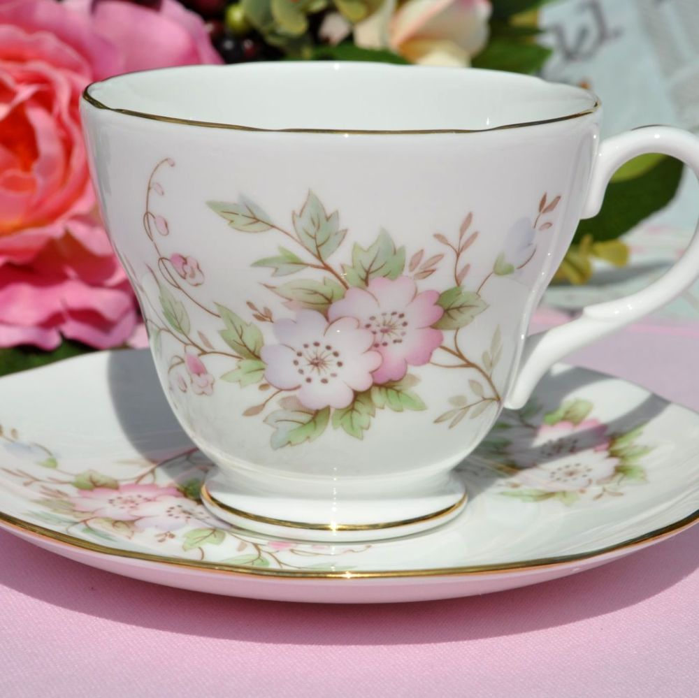 Duchess Pastel Pink Floral Teacup and Saucer