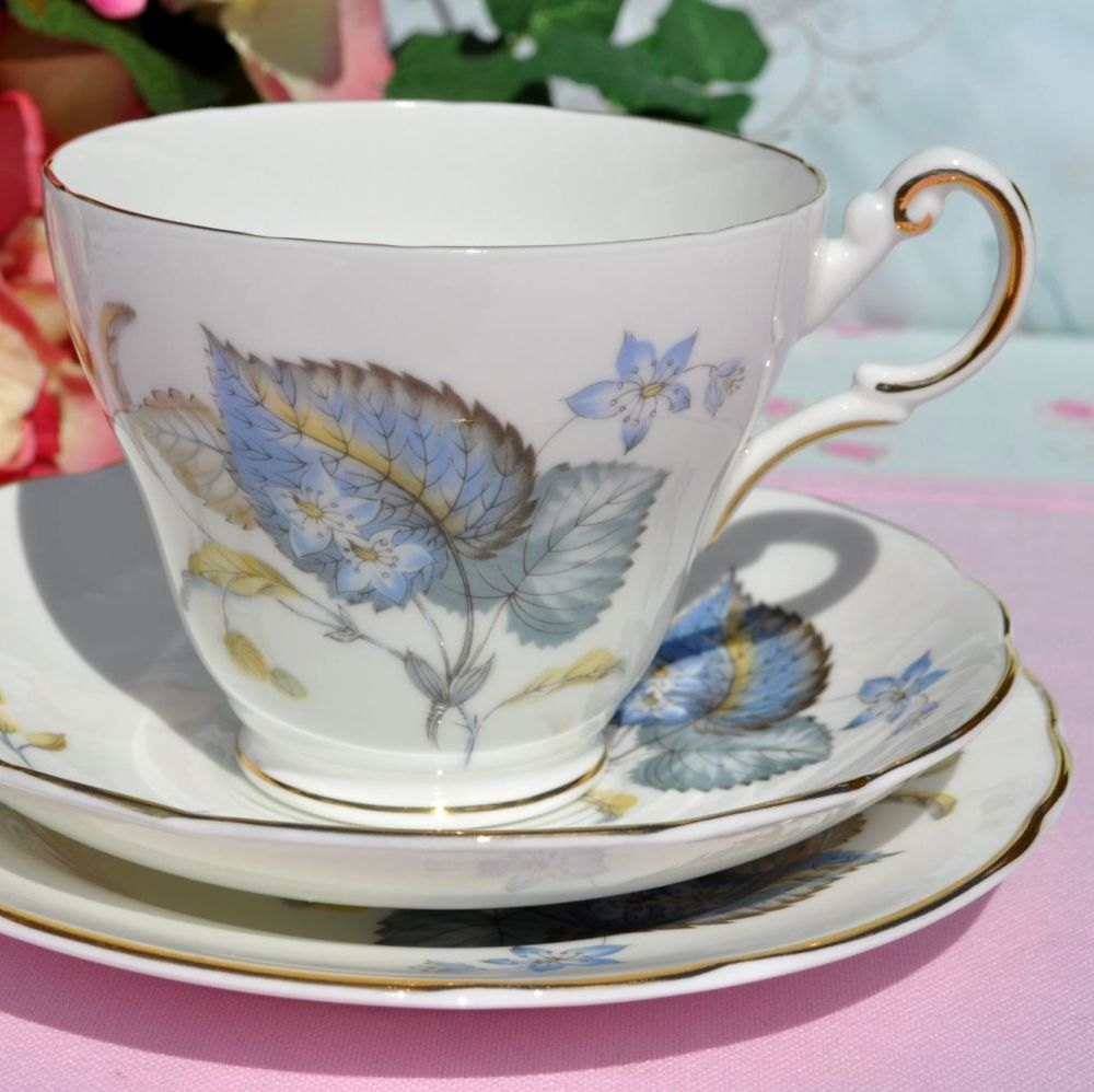 Regency Blue Leaf Pattern Vintage Bone China Teacup Trio c.1950s