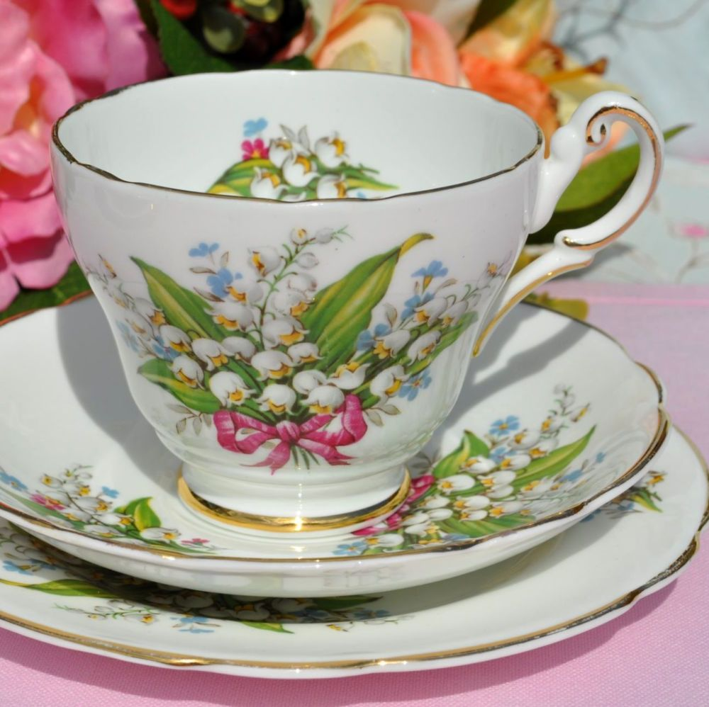 Regency Lily of the Valley and Pink Bow Bone China Teacup Trio c.1950s