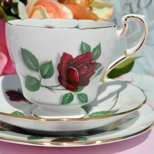 Paragon Red Rose Fine China Tea Cup Trio