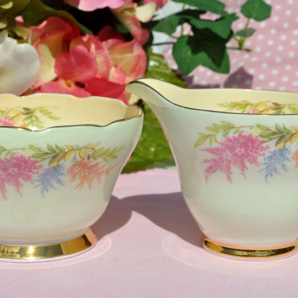 Sutherland Wisteria Vintage China Milk Jug & Sugar Bowl c.1950s