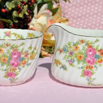 Minton Lorraine Beautiful Floral Vintage China Creamer and Sugar Bowl c.1950s