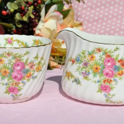 Minton Lorraine Beautiful Floral Vintage China Creamer and Sugar Bowl c.195