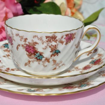 Minton Ancestral S-376 Hand Painted Teacup Trio In Pristine Condition c.1950's