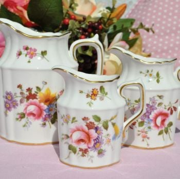 Royal Crown Derby Posies Set of 3 Graduated Milk Churn Shape Cream Jugs