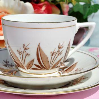Minton Retro Chocolate and Coffee Pattern Bone China English Teacup Trio c.1950s