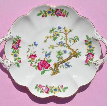 George Jones Hand Painted Tree Of Kashmir Vintage Crescent China Biscuit Tray c.1940s