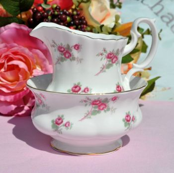 Richmond Rose Time Ditsy Pink Roses Pattern Vintage China Milk Jug and Sugar Bowl