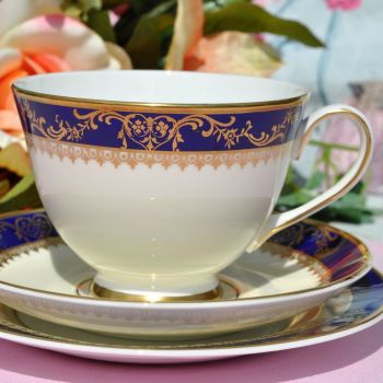 Royal Grafton Viceroy Fine Quality Cobalt Blue and Gold Vintage China Teacup Trio c.1970s