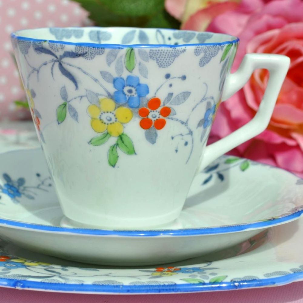 Sutherland Art Deco Hand Painted 1930s Tea Trio