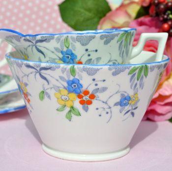 Sutherland Blue Rim Hand Painted Milk Jug and Sugar Bowl