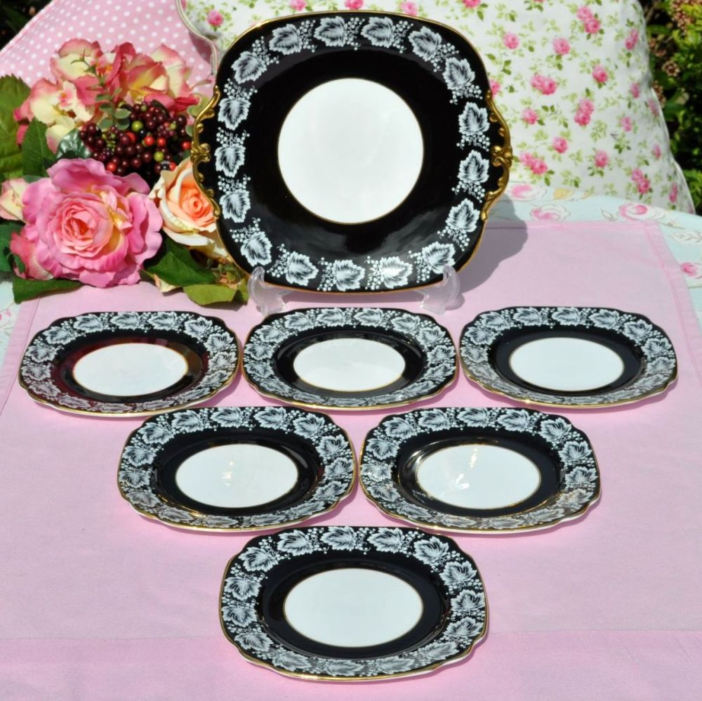 Windsor Black and Gold Cake Plate and Six Tea Plates Set