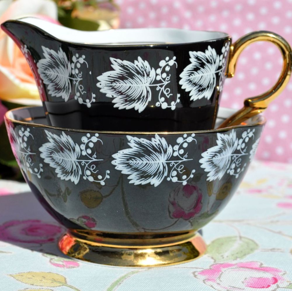 Windsor Black and Gold Vintage Milk Jug and Sugar Bowl