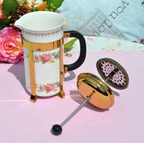 vintage fine china cafetiere with floral pattern
