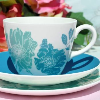 Wedgwood Blue Gardenia Teal and Duck Egg Pristine Bone China Teacup Trio