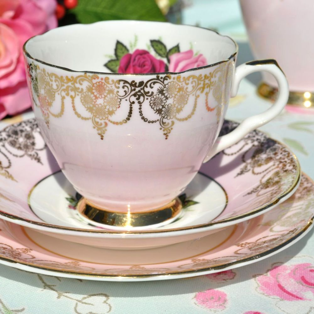 Imperial Pale Pink and Gold Vintage Teacup Trio with Roses