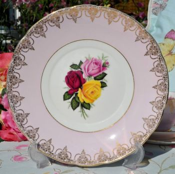 Imperial Pale Pink and Roses Vintage China Cake Plate