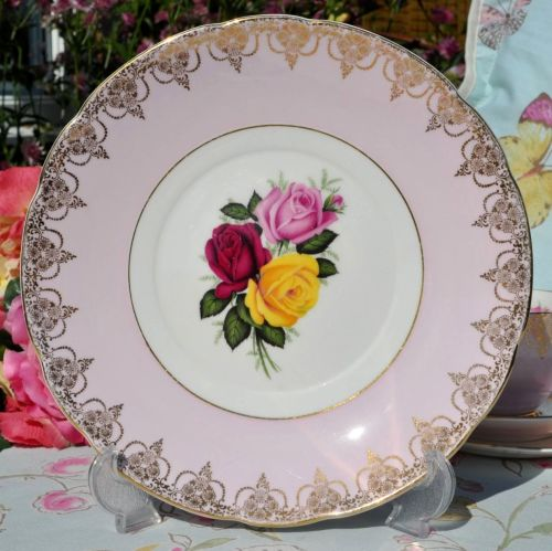 Imperial pale pink roses cake plate