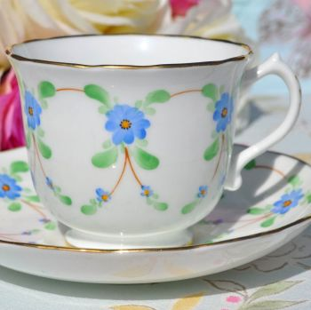 Hammersley Blue Garland Hand Painted English Bone China Teacup and Saucer c.1912-39