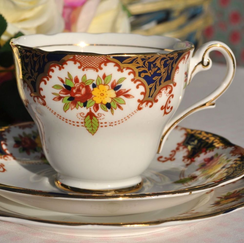 Royal Standard Old Fashioned Pattern Vintage Bone China Teacup Trio