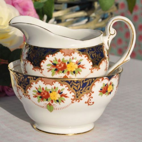 Royal Standard Floral Imari Colours Milk Jug and Sugar Bowl