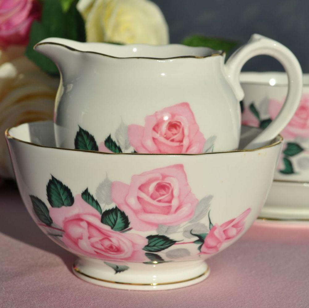 Roslyn Pink Roses Vintage Milk Jug and Sugar Bowl c.1958-63