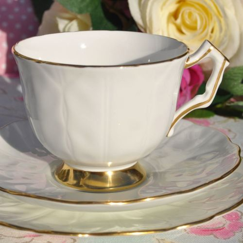 Aynsley Golden Crocus English Fine White and Gold China Teacup Trio