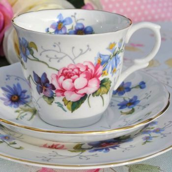 Crown Staffordshire Floral Fine Bone China Vintage Teacup Trio