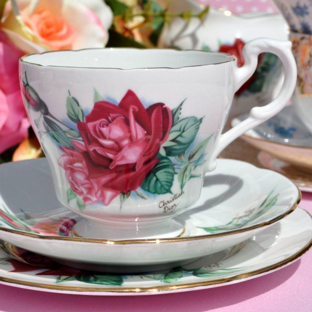 Royal Standard Christian Dior Rose Vintage Teacup, Saucer, Tea Plate