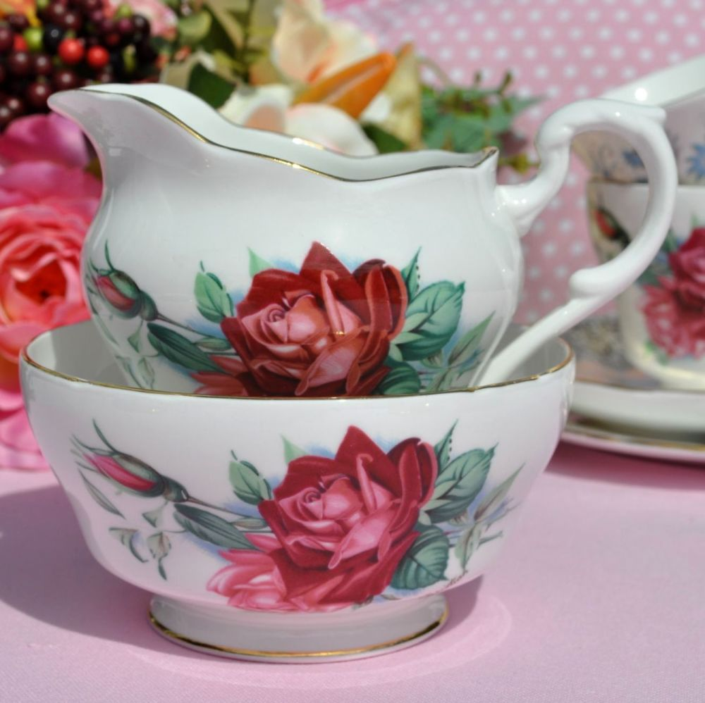 Royal Standard Christian Dior Rose Vintage Cream Jug and Sugar Bowl