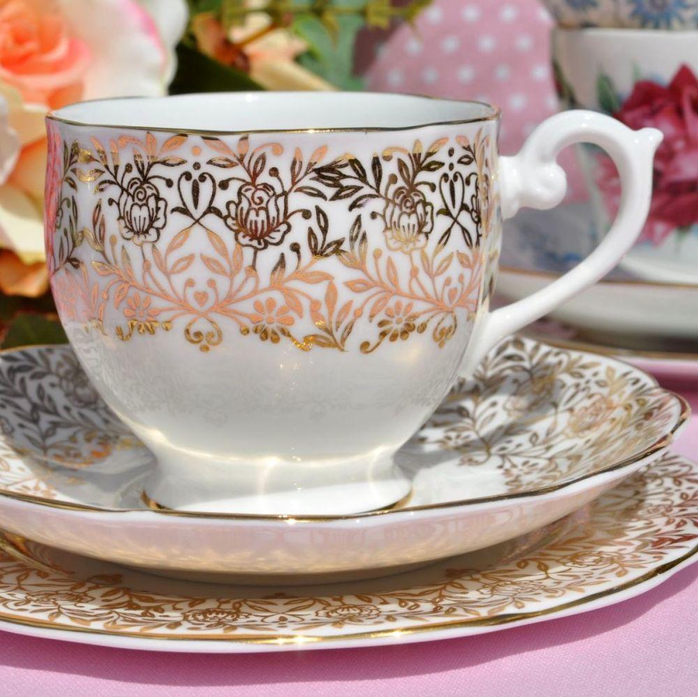 Queen Anne Gold Floral Vintage Teacup, Saucer, Tea Plate c.1950s
