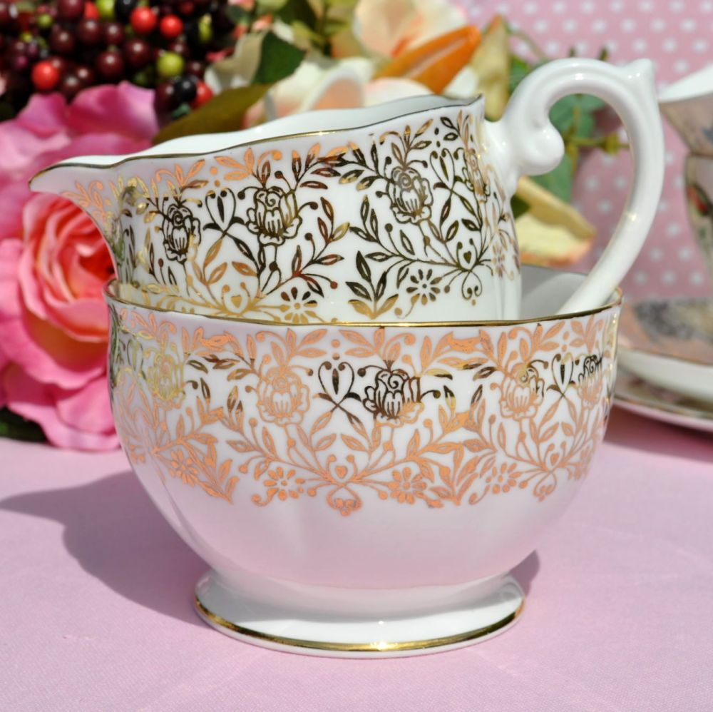 Queen Anne Gold Floral Vintage Cream Jug and Sugar Bowl c.1950s