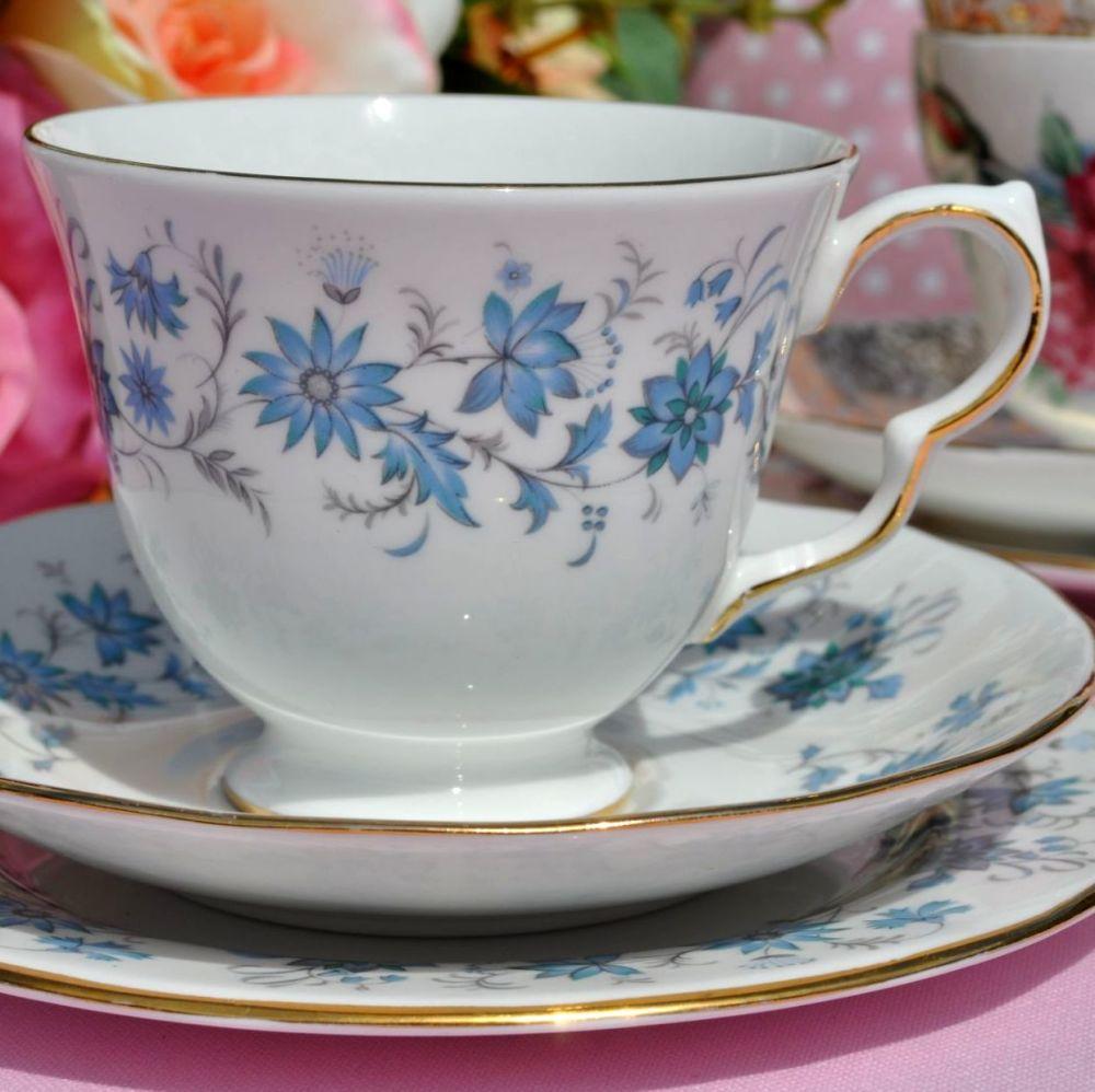 Colclough Braganza Blue Vintage Smooth Teacup Trio