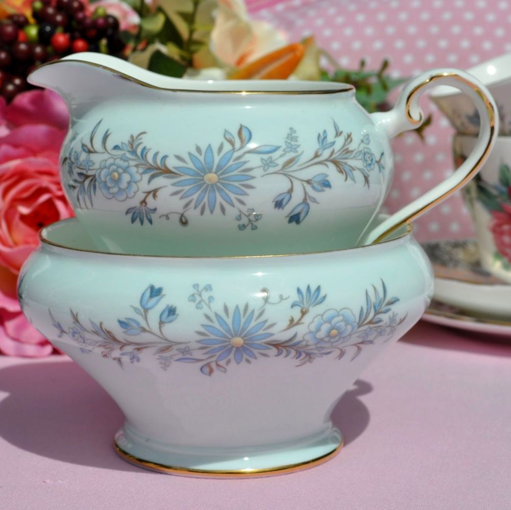 Aynsley Pale Blue Floral Cream Jug and Sugar Bowl