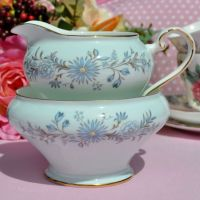 Aynsley Pale Blue Floral Cream Jug and Sugar Bowl