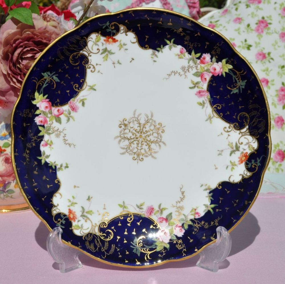 Coalport Antique Cobalt Blue and Pink Floral Cake, Cabinet or Display Plate