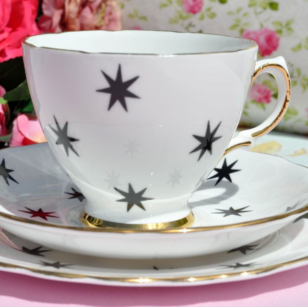 Royal Vale vintage teacup trio with stars pattern