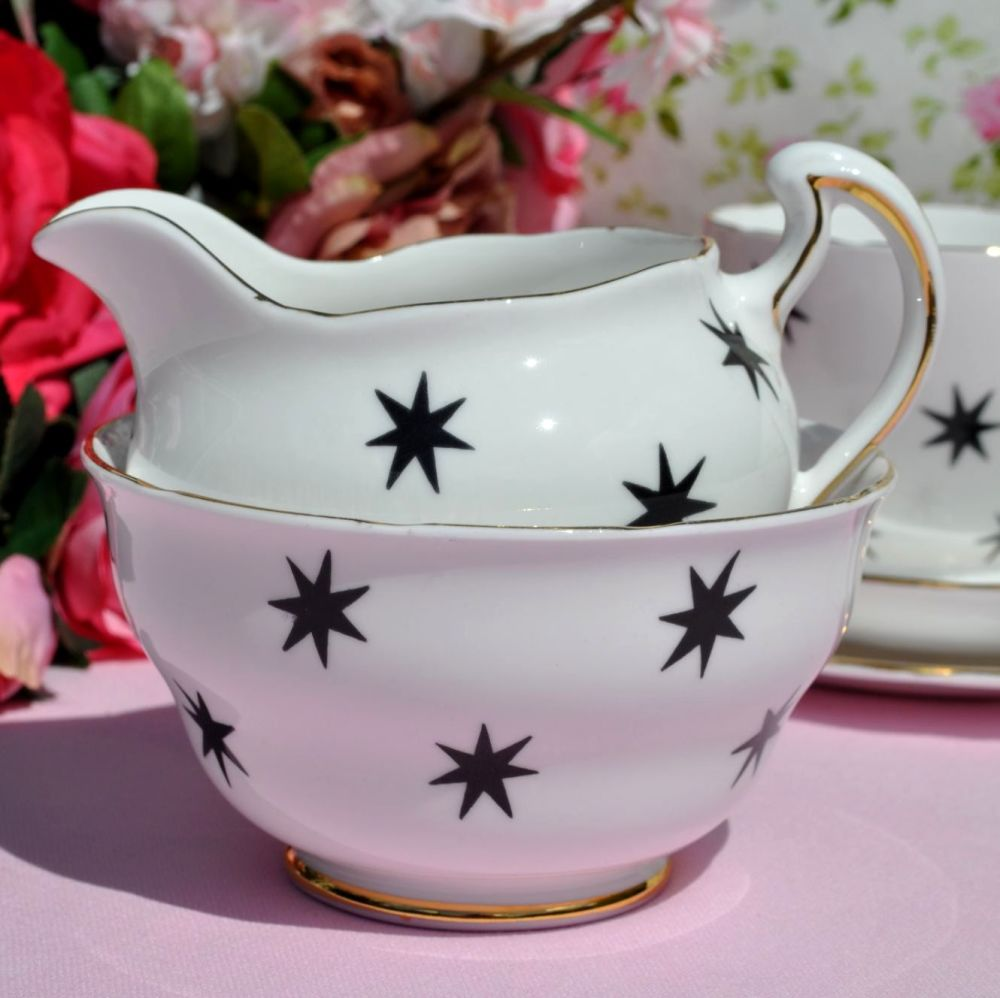 Royal Vale Black Star Milk Jug and Sugar Bowl
