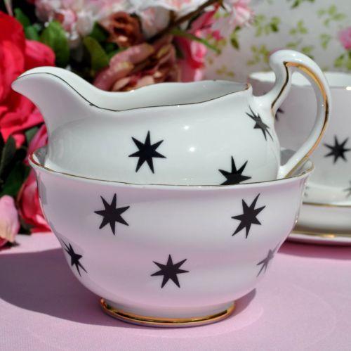 Royal Vale Black Star Milk Jug and Sugar Bowl