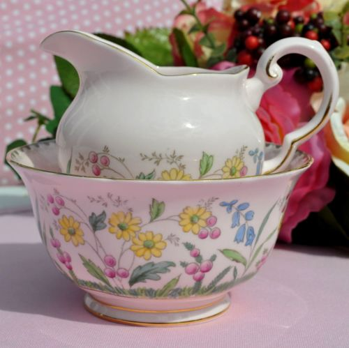 Tuscan Meadow Flowers 5507H Pink Creamer and Sugar Bowl