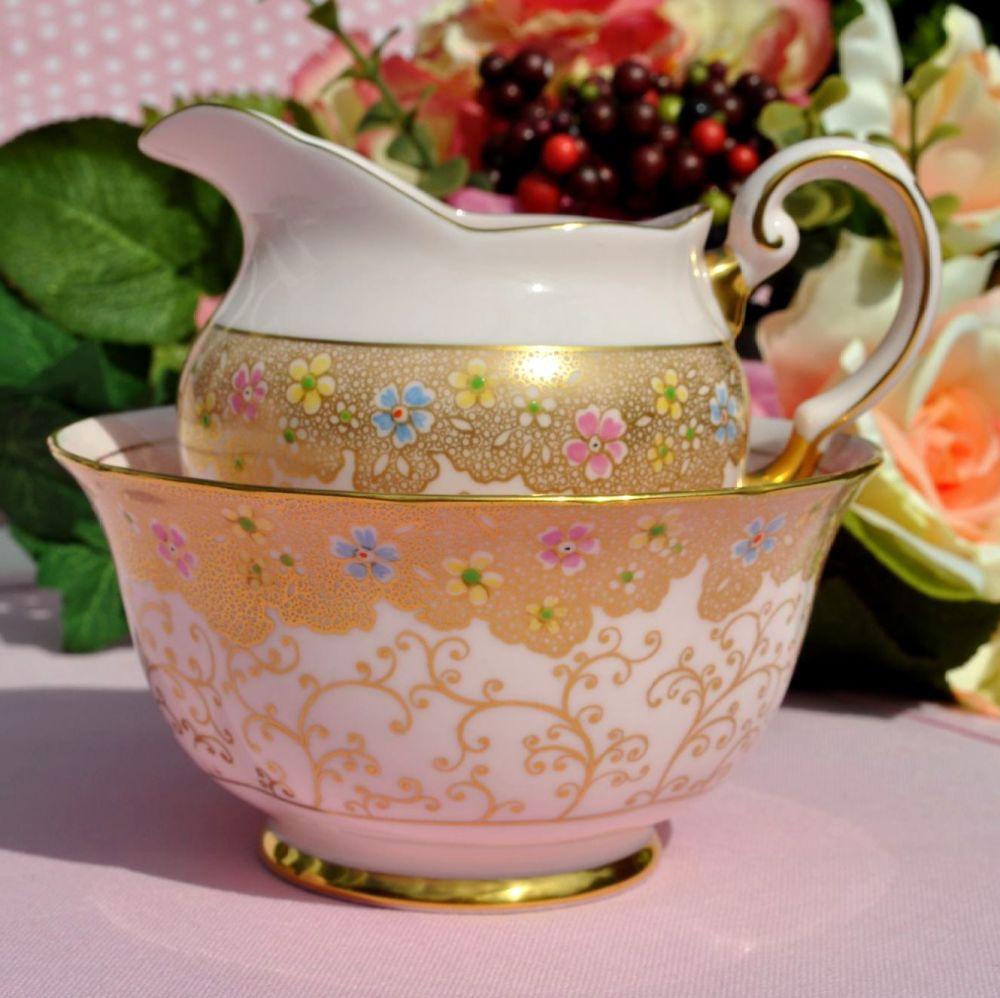 Tuscan Gold and Pink Fine Bone China Creamer and Sugar Bowl