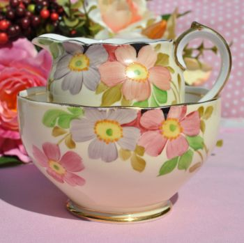 Roslyn China Hand Painted Vintage Creamer and Sugar Bowl c.1937-46