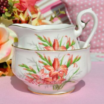 Royal Albert Gladiolus Milk Jug and Sugar Bowl