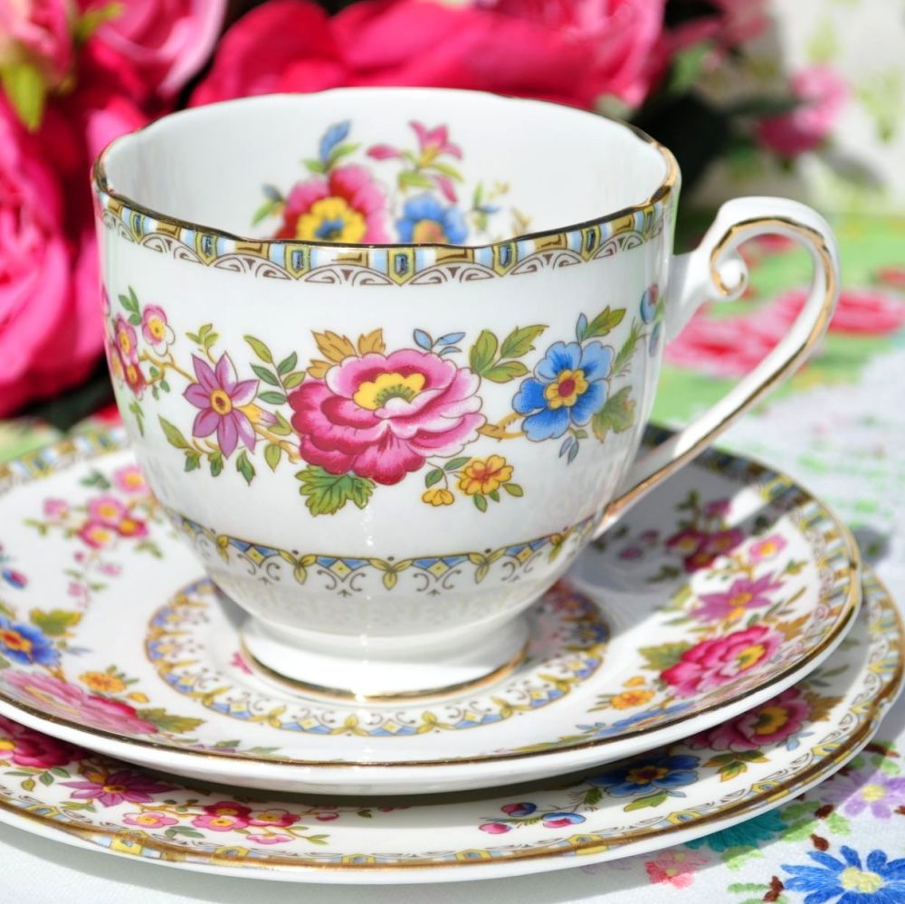 Royal Grafton Malvern Vintage Fine Bone China Floral Teacup Trio c.1930s