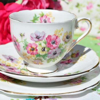 Stanley China Anemone Vintage China Teacup Trio c.1953