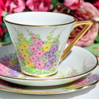 Art Deco Hollyhock Teacup Trio by Chapmans c.1930s